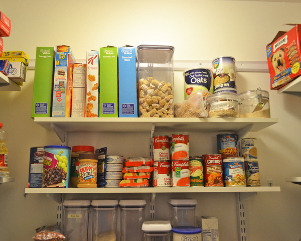 organized pantry cereal and soup
