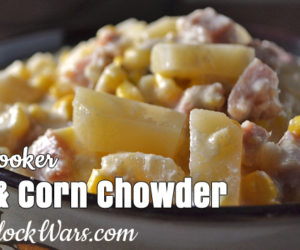 slow cooker ham and corn chowder featured
