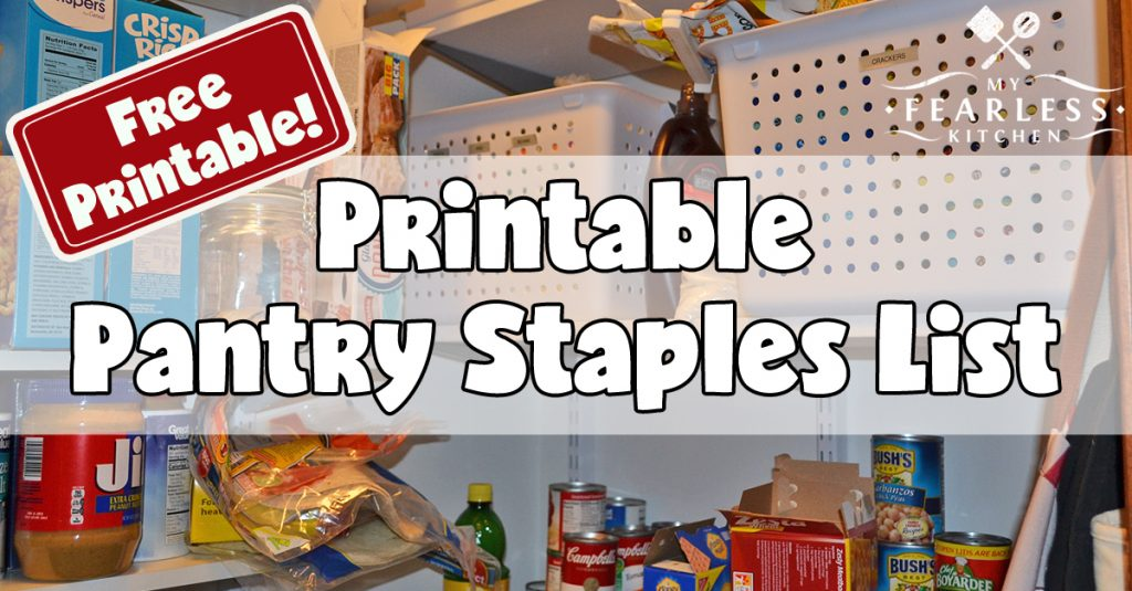 picture regarding Printable Pantry List identify Printable Pantry Staples Record - My Fearless Kitchen area